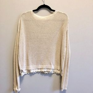Anthropologie Sweaters - Natural Lace Trim Cropped Sweater